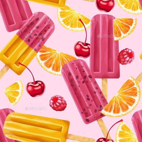Ice Cream, Fruits and Berries Seamless Pattern - Food Objects