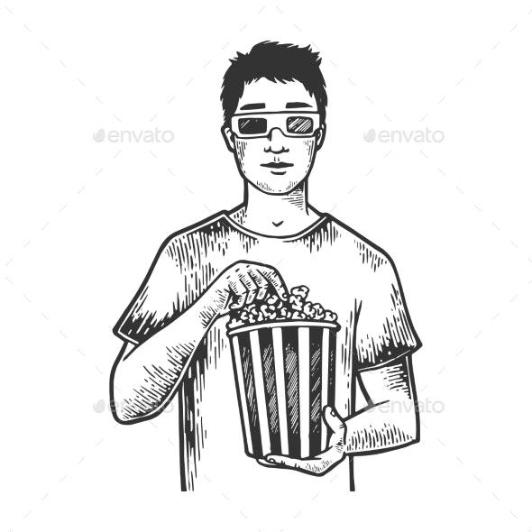 Man with Pop Corn Sketch Engraving Vector - Miscellaneous Vectors