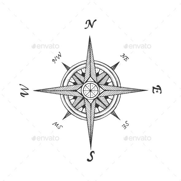 Medieval Wind Rose Sketch Engraving Vector - Miscellaneous Vectors