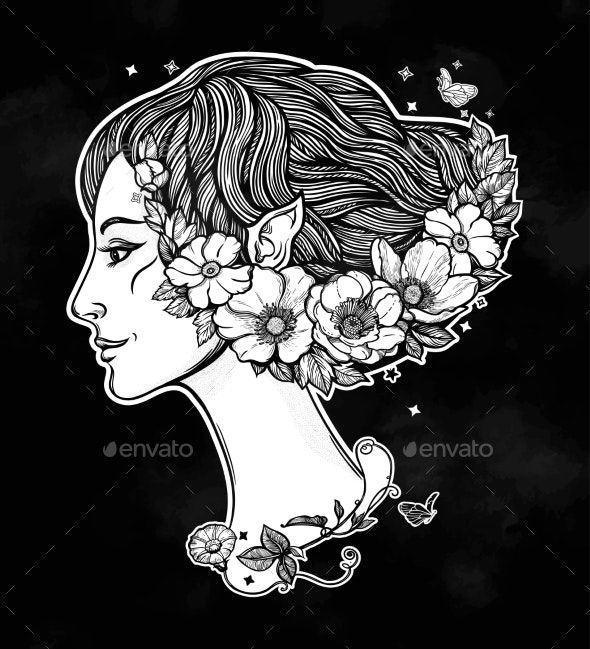 Portrait of Young Girl Witch with Flowers - Flowers & Plants Nature