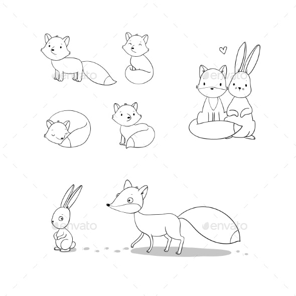 Cartoon Fox and Hare - Animals Characters