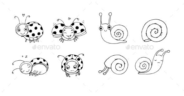 Ladybug and Snail Cartoon - Miscellaneous Vectors