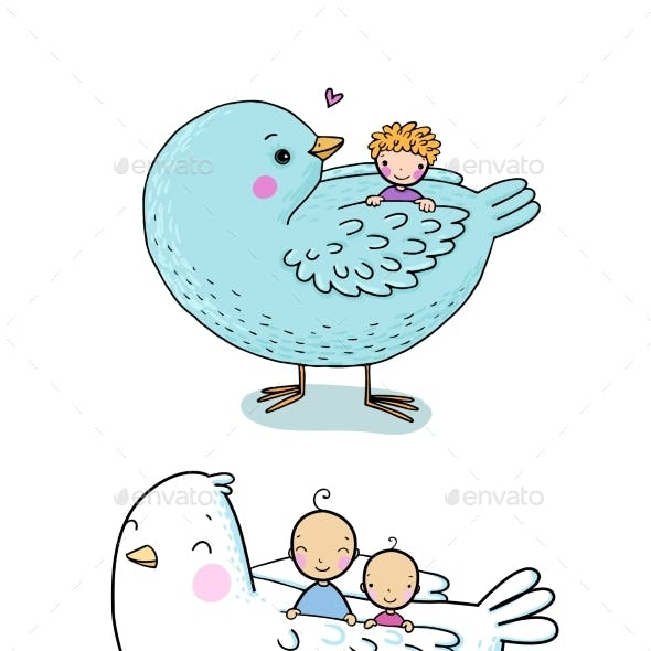 Cartoon Birds and Kids