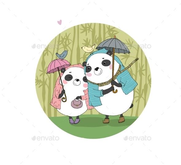 Cartoon Pandas Autumn Theme - Animals Characters