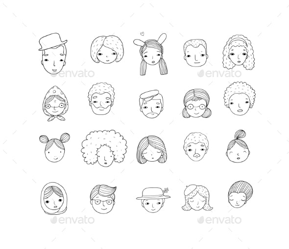 Pattern with Graphical Faces - Miscellaneous Vectors