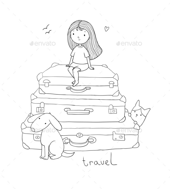 Happy Travel Cartoon Girl Dog and Suitcases - Man-made Objects Objects