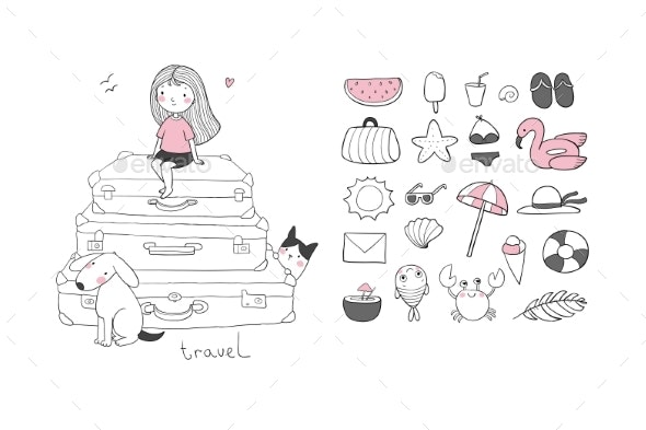 Travel Set Cartoon Girl and Suitcases - Miscellaneous Vectors