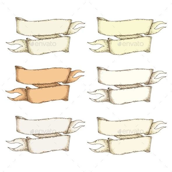 Retro Beige Blank Heraldic Ribbon - Decorative Symbols Decorative