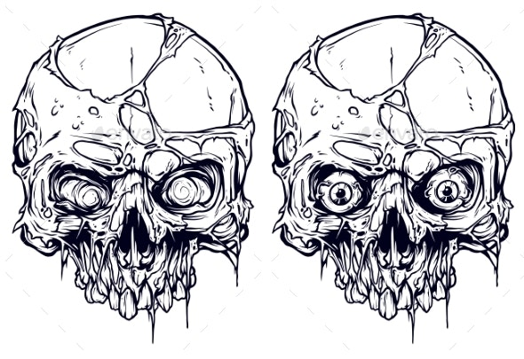 Detailed Graphic Human Skulls Set - Miscellaneous Vectors