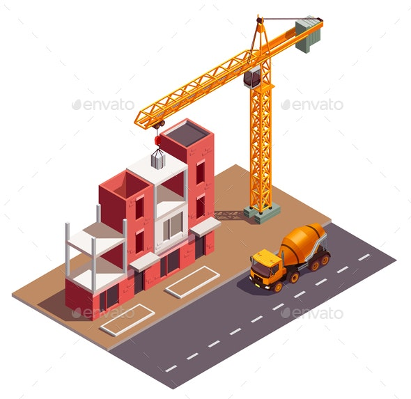 Townhouse Construction Isometric Composition - Buildings Objects
