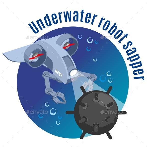 Underwater Robot Sapper Round Background - Miscellaneous Vectors