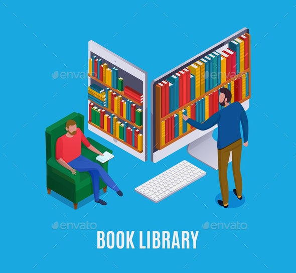 Online Library Isometric Illustration - People Characters