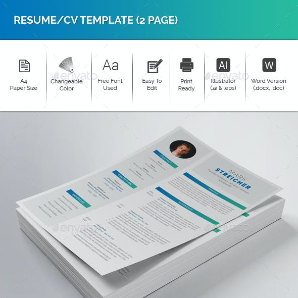 Resume/CV Template (2 Page)