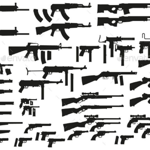 Graphic Black Silhouette Weapon and Firearm Icons