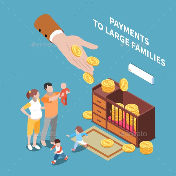 Isometric Family Payments Composition - People Characters