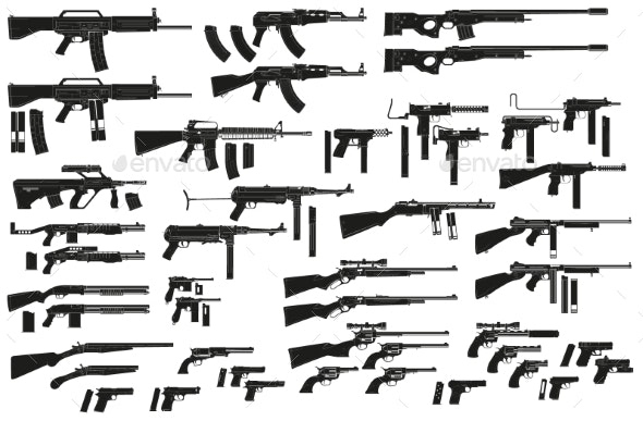 Graphic Black Silhouette Weapon and Firearm Icons - Man-made Objects Objects
