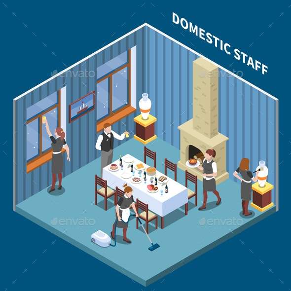 Domestic Staff Isometric Composition - Miscellaneous Vectors