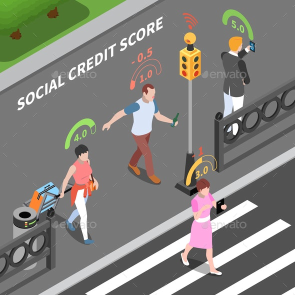 Social Credit Score Composition - People Characters
