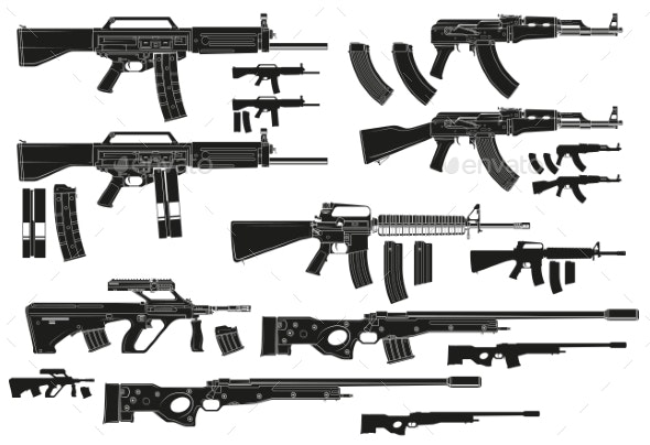 Graphic Silhouette Modern Automatic Assault Rifles - Man-made Objects Objects