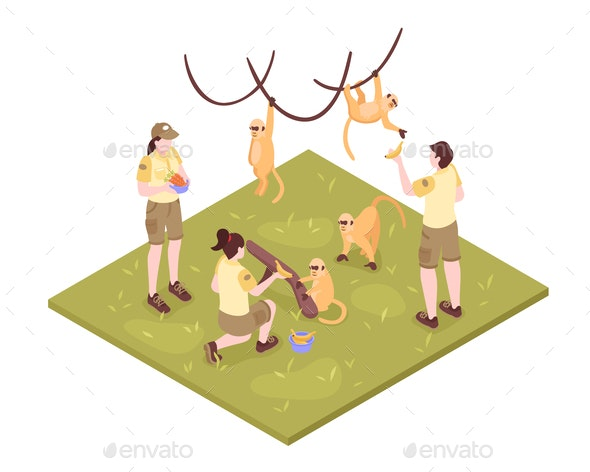 Zoo Keepers Isometric Composition - Animals Characters