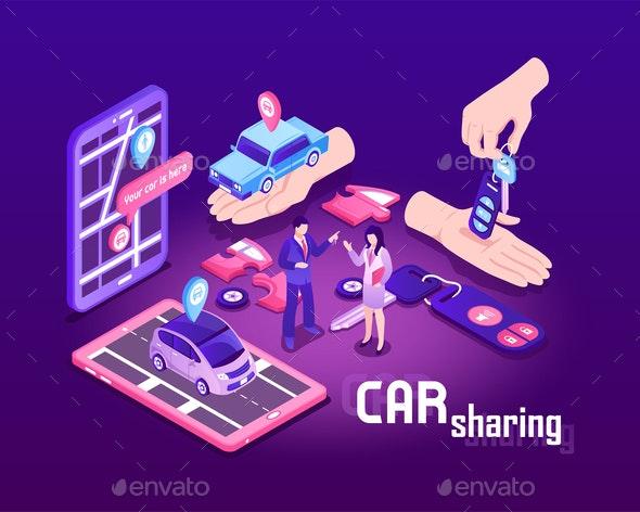 Car Sharing Concept Background - Miscellaneous Vectors