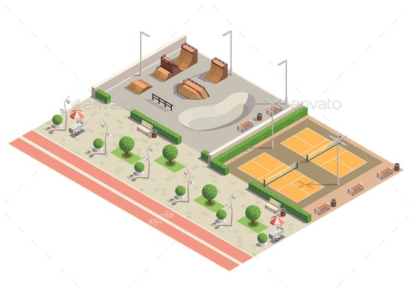 City Park Isometric Composition - Buildings Objects