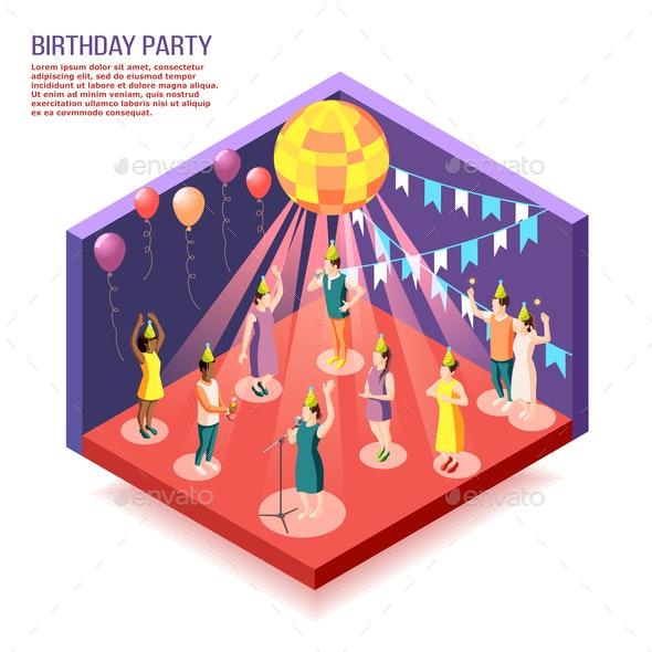 Birthday Party Isometric Vector Illustration - Birthdays Seasons/Holidays
