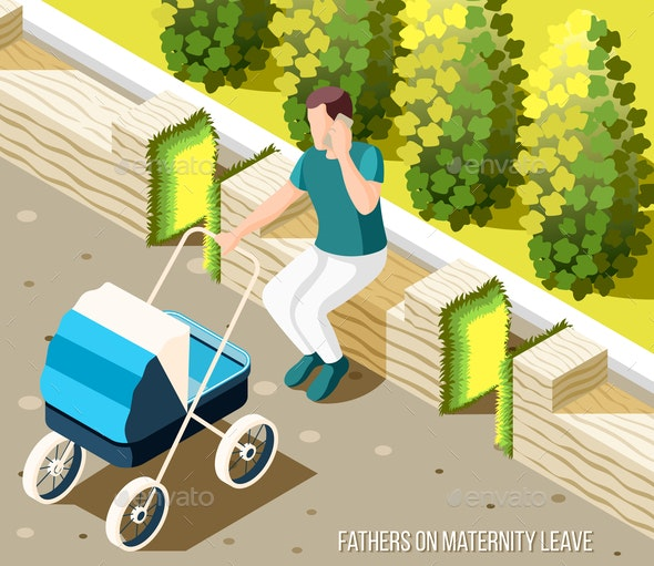 Fathers On Maternity Leave Isometric Background - People Characters