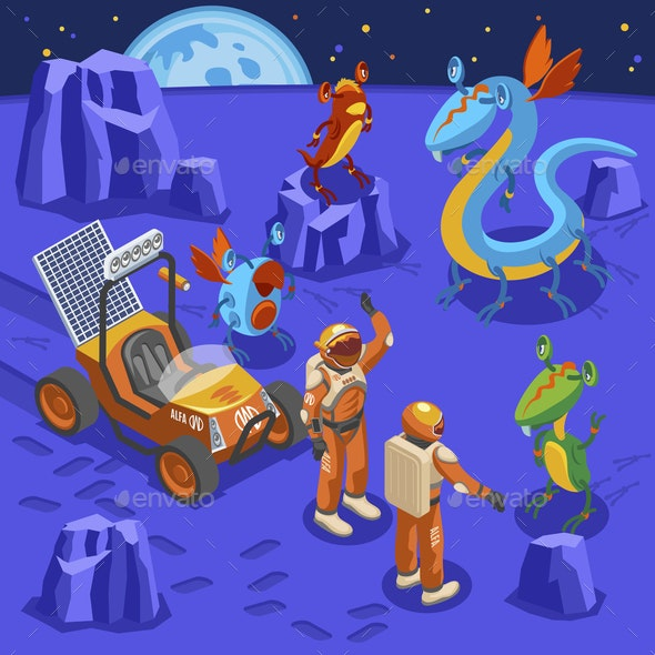 Aliens Isometric Background - Miscellaneous Vectors