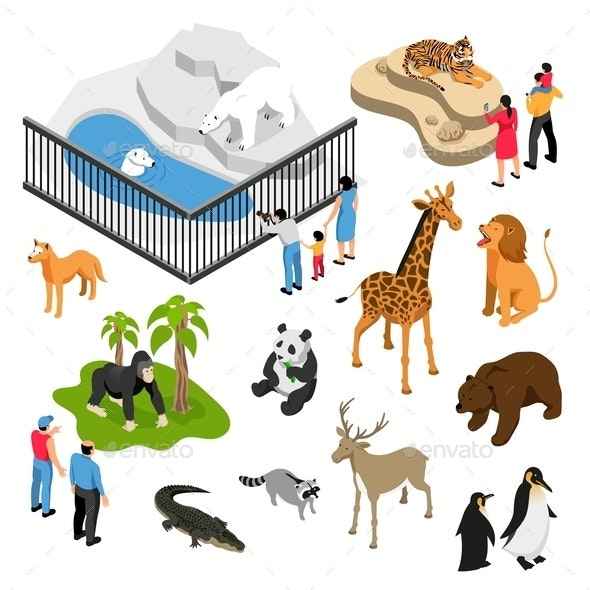 Zoo People Isometric Set - Animals Characters