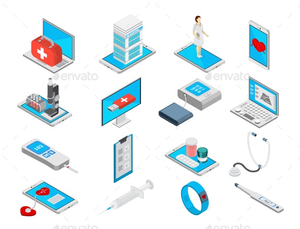 Mobile Medicine Icons Set - Health/Medicine Conceptual