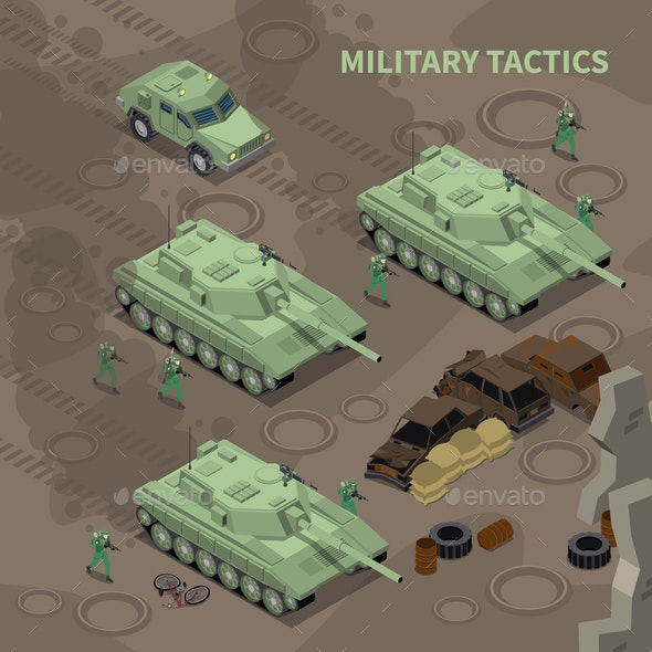 Military Tactics Isometric Background - Miscellaneous Vectors