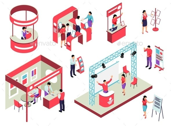 Trade Exhibition Isometric Set - People Characters