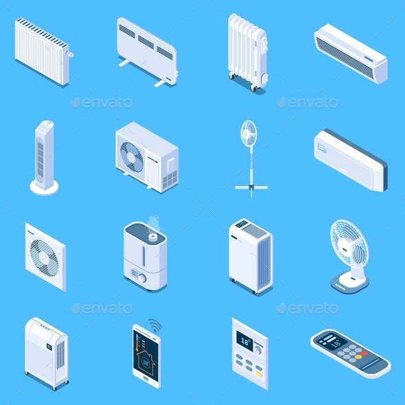 Home Climate Control Isometric Icons - Miscellaneous Vectors