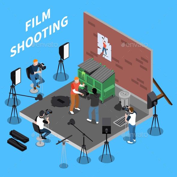 Film Shooting Isometric Background - Miscellaneous Vectors