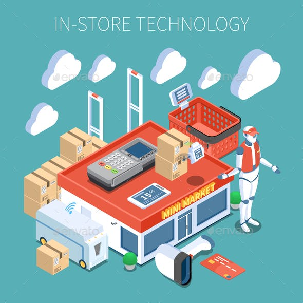 Shop Technology Isometric Composition
