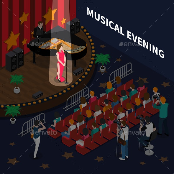 Musical Evening Isometric Composition - Industries Business