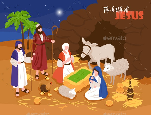 Jesus Birth Banner Background - People Characters