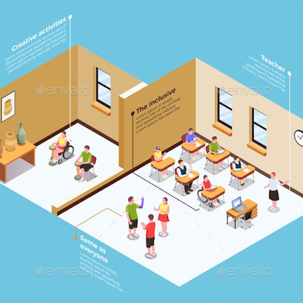 Inclusive Education Isometric Composition