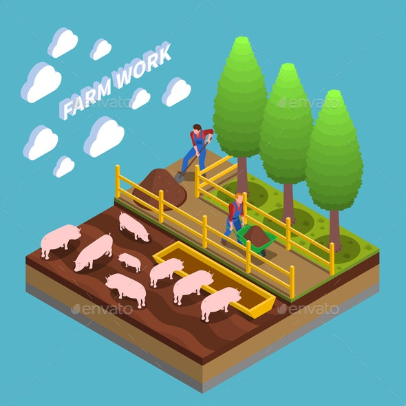 Agricultural Isometric Composition - Industries Business