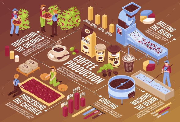 Coffee Production Isometric Flowchart - Industries Business