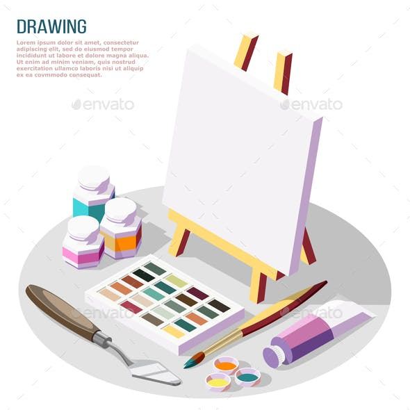 Hobby Crafts Isometric Composition