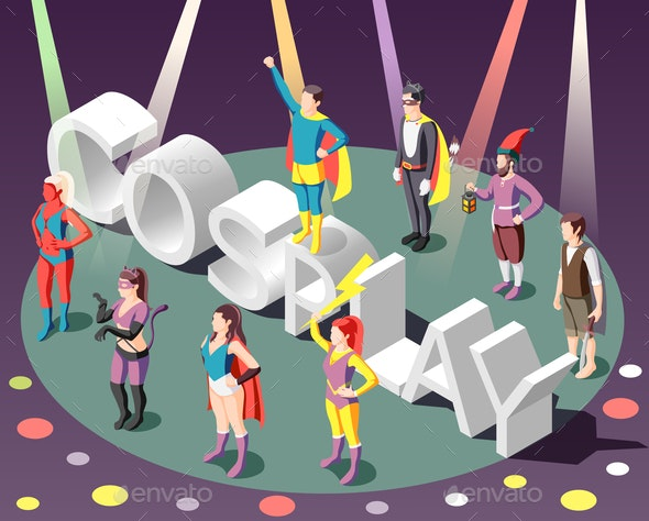 Cosplay Isometric Composition - People Characters