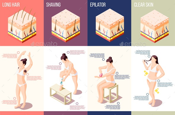 Hair Removal Isometric Composition - People Characters