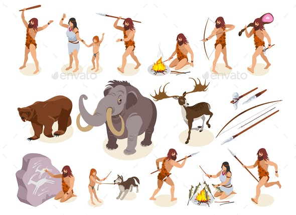 Stone Age Icons Set - People Characters