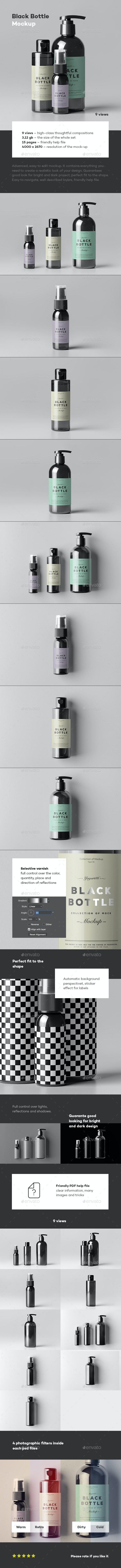 Black Bottles Cosmetic Mockup - Beauty Packaging