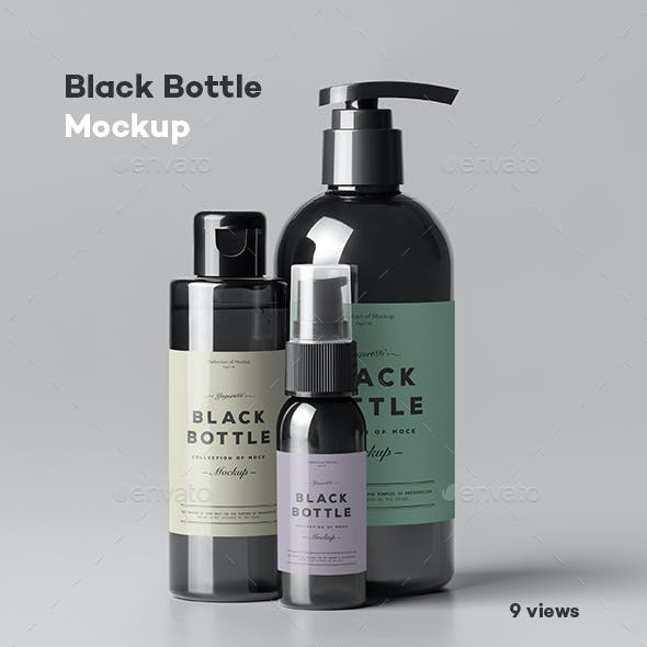 Black Bottles Cosmetic Mockup