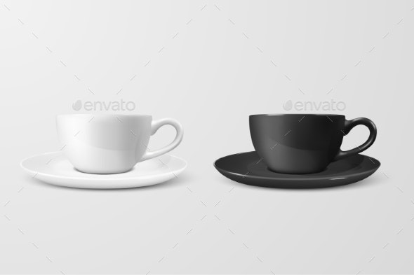 Realistic Vector Blank White and Black Coffee - Food Objects
