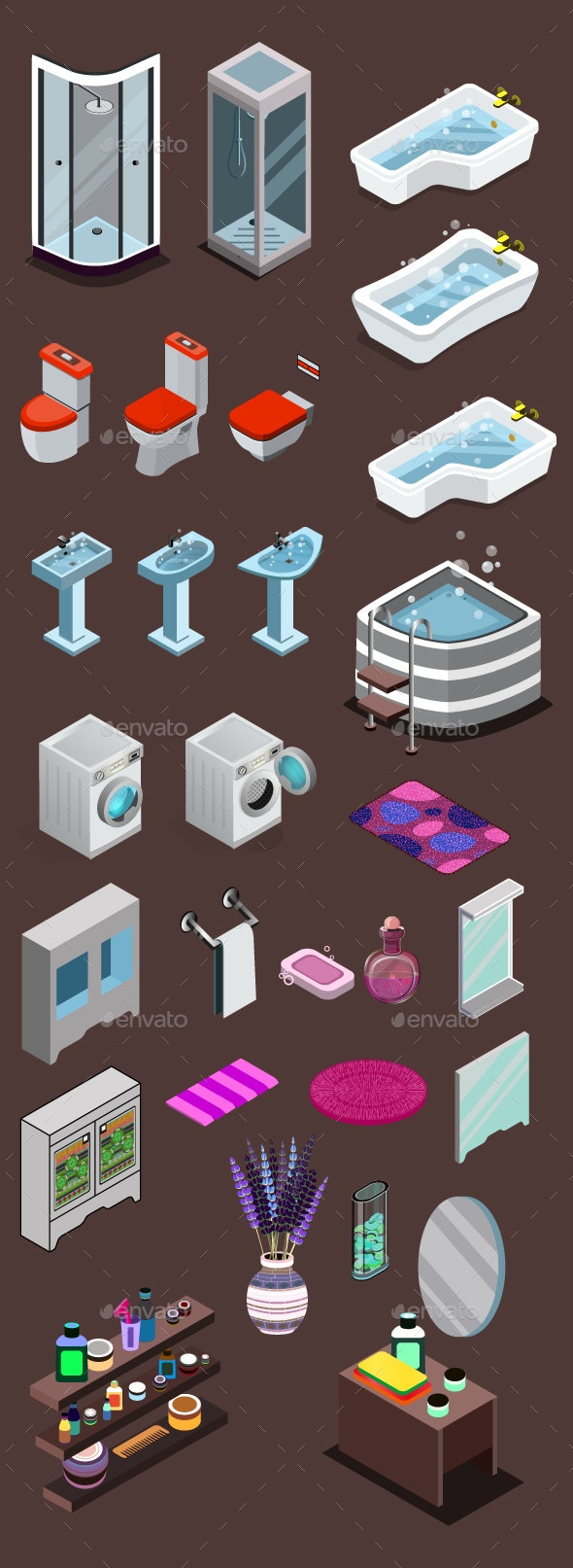 Vector Bathroom Icons Set - Man-made Objects Objects