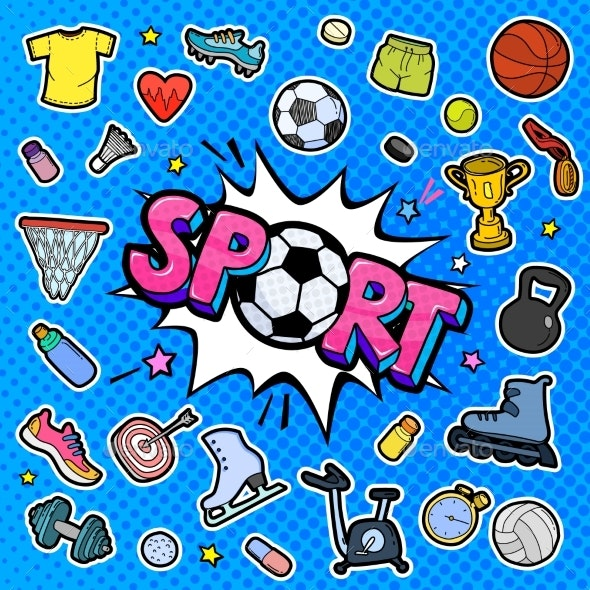 Message Sport with Soccer Ball in Pop Art Style - Miscellaneous Vectors